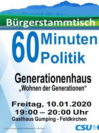 Plakat CSU Stammtisch - Generationenhaus