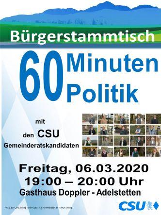 Plakat CSU Stammtisch - GR Kandidaten