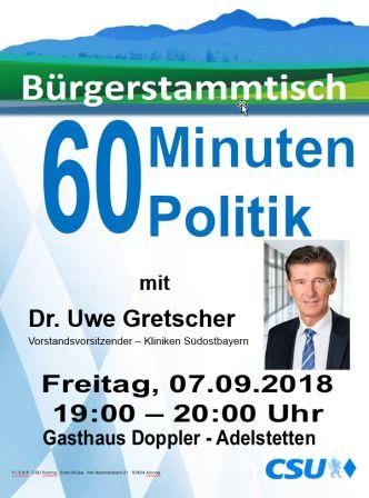 Plakat CSU Stammtisch - Gretscher