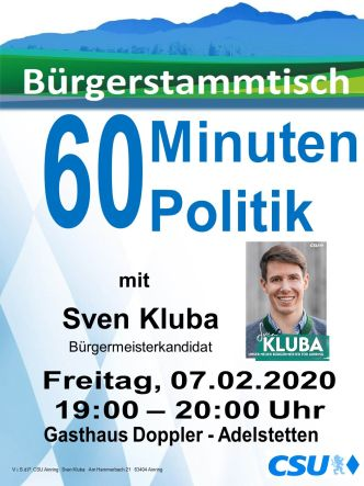 Plakat CSU Stammtisch - Kluba -332-