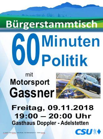 Plakat CSU Stammtisch - Motorsport Gassner -332-