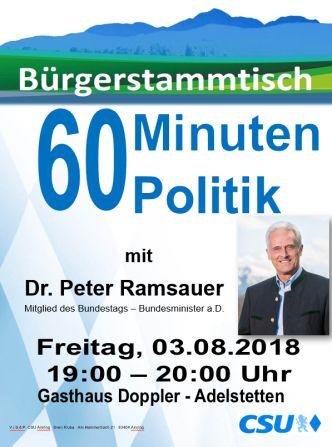 Plakat CSU Stammtisch - Ramsauer