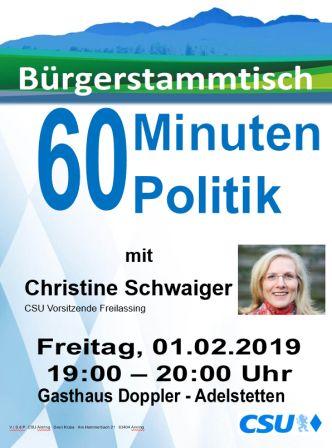 Plakat CSU Stammtisch - Schwaiger